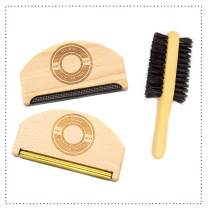 Premium Fabric Sweater Shaver Lint Comb & Free Lint Brush. 3 in 1 Pack. HAT MATE. Pure Wood Eco-Friendly Product. Clothes & Cashmere Shaver Removes Pills, Fuzz & Lint from Garments.