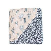 Bebe au Lait Luxury Muslin Snuggle Blanket, Safari and Leopard