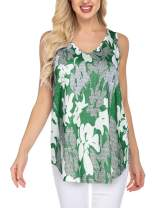 Mofavor Women's Casual Floral Print V Neck Sleeveless Flowy Tunic Tank Tops