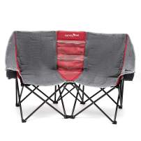 SUNNYFEEL Double Folding Camping Chair, Oversized Loveseat Chair, Heavy Duty Portable/Foldable Chair with Storage for Outside/Outdoor/Lawn/Travel/Picnic, Fold Up Camp Chair for Adults, 2 People