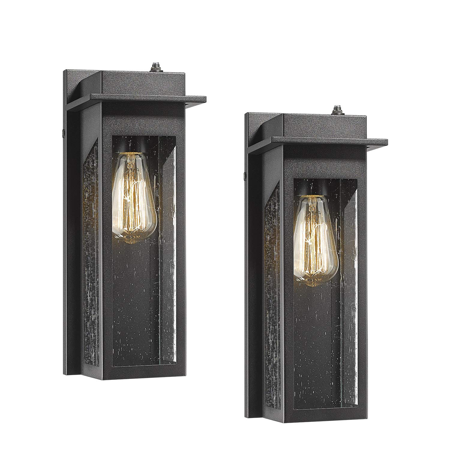 CALDION Dusk to Dawn Sensor Outdoor Wall Lanterns 2 Pack, Exterior Wall Light Fixture in Black Finish with Seeded Glass Shade, Wall Mount Sconce for Garage, Doorway, Porch, 2478-1WL-2PK
