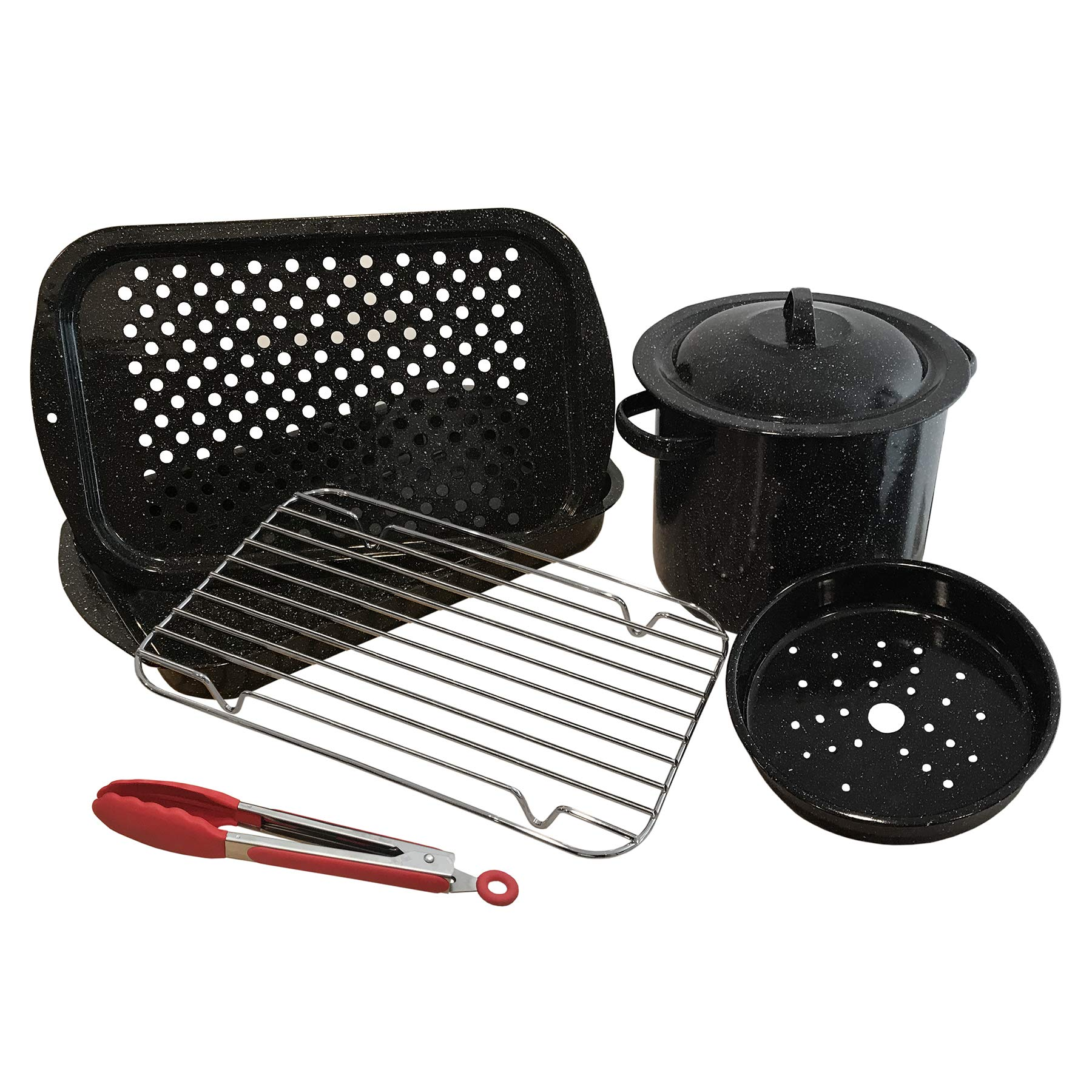Granite Ware F6280DS-1 Bake Broil & Grill w/Stock Pot/Steamer & Tongs Healthy Cooking Set, 7 pc, Black