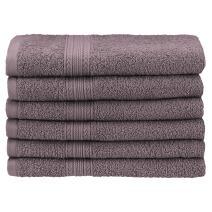 "Superior Eco-Friendly 100% Ringspun Cotton, 6 Piece Hand Towel Set (16"" x 30"") in Graphite"