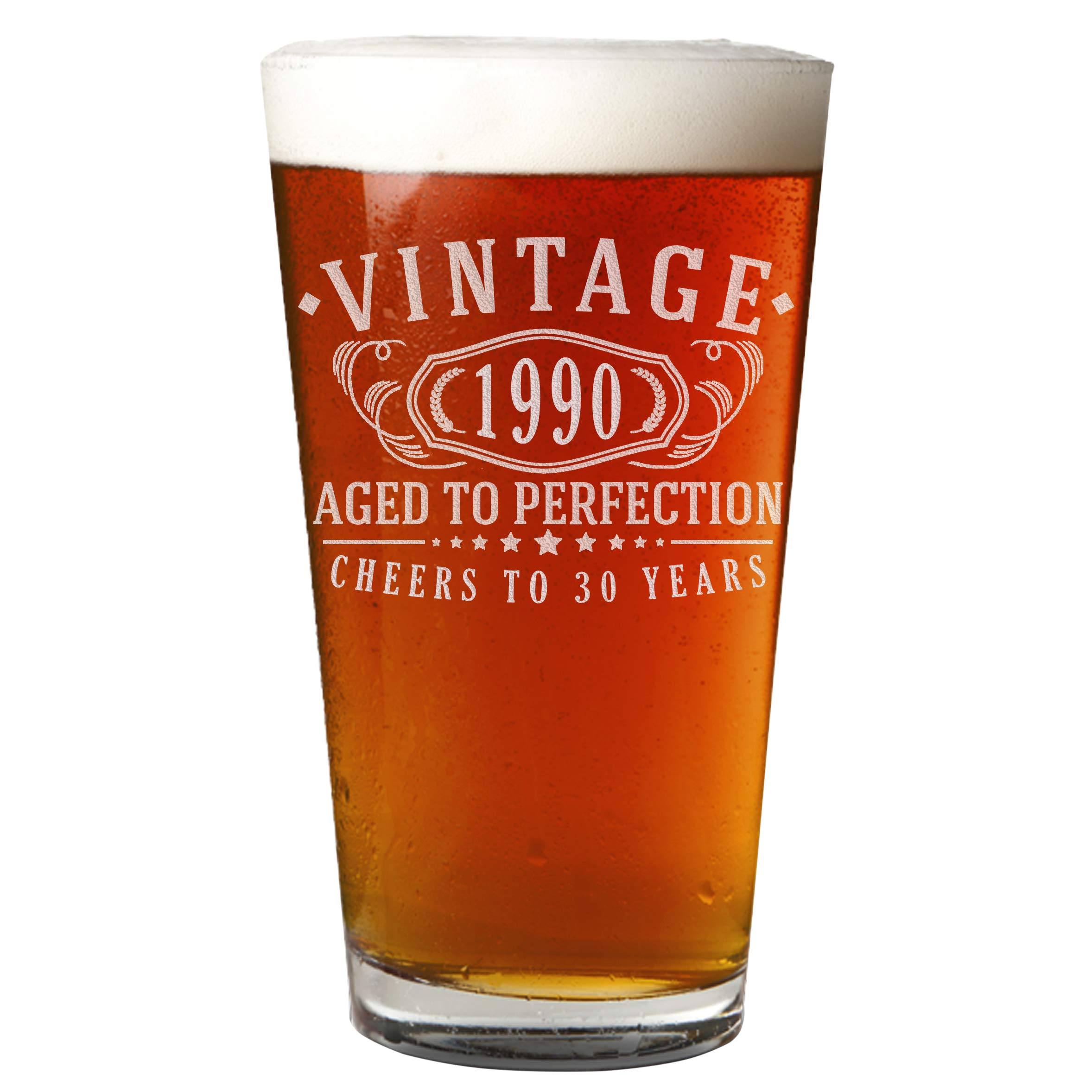 Vintage 1990 Etched 16oz Pint Beer Soda Glass - 30th Birthday Aged to Perfection - 30 years old gifts