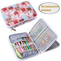 Teamoy Crochet Hook Case, Travel Storage Bag for Swing Crochet Hooks, Lighted Hooks, Needles(Up to 8'') and Accessories, Cats Pink(No Accessories Included)