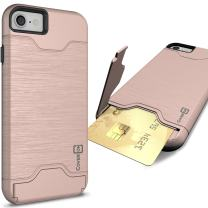 CoverON Credit Card Holder Protective SecureCard Series for Apple iPhone 8 / iPhone 7 Case, Rose Gold