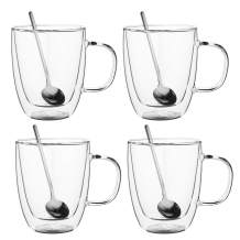 AMEDY'S Set Of 4 Insulated Double Wall Glasses With Handles & 4 Teaspoons – Durable 12 Oz (355 ml) Coffee Glasses | Tea Cups | Latte Mugs | Americano Glass | Cappuccino Cup | Coffee Mugs Set of 4