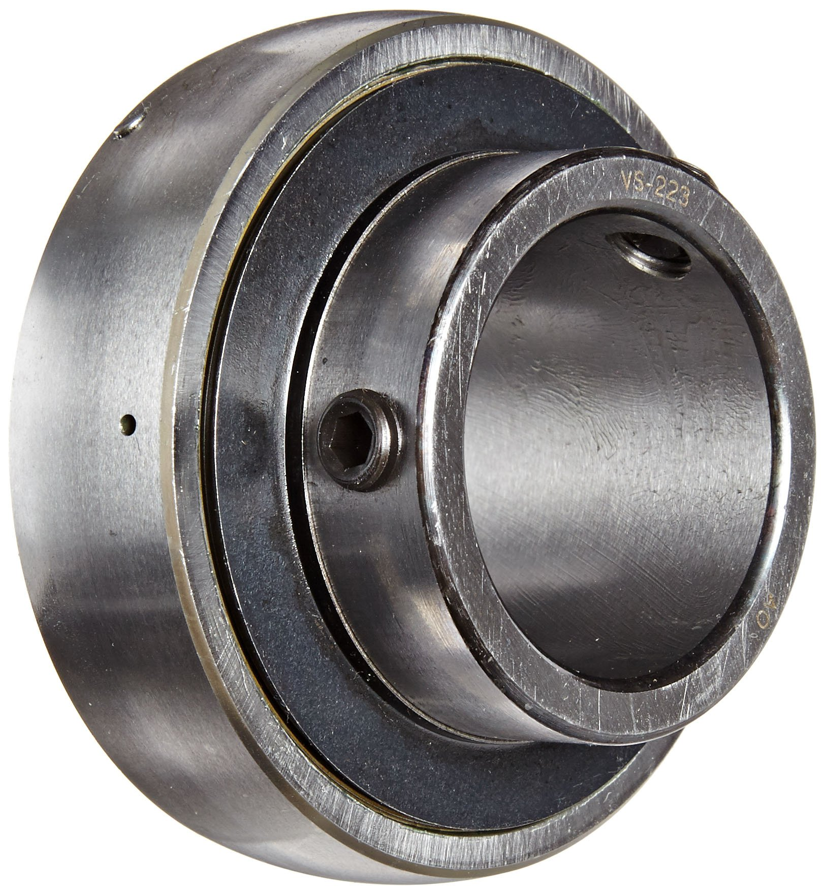 """Browning VS-223 Ball Bearing Insert, Setscrew Lock, Regreasable, Contact and Flinger Seal, Steel, 1-7/16"""" Bore, 72mm OD, 19 mm Outer Ring Width"""
