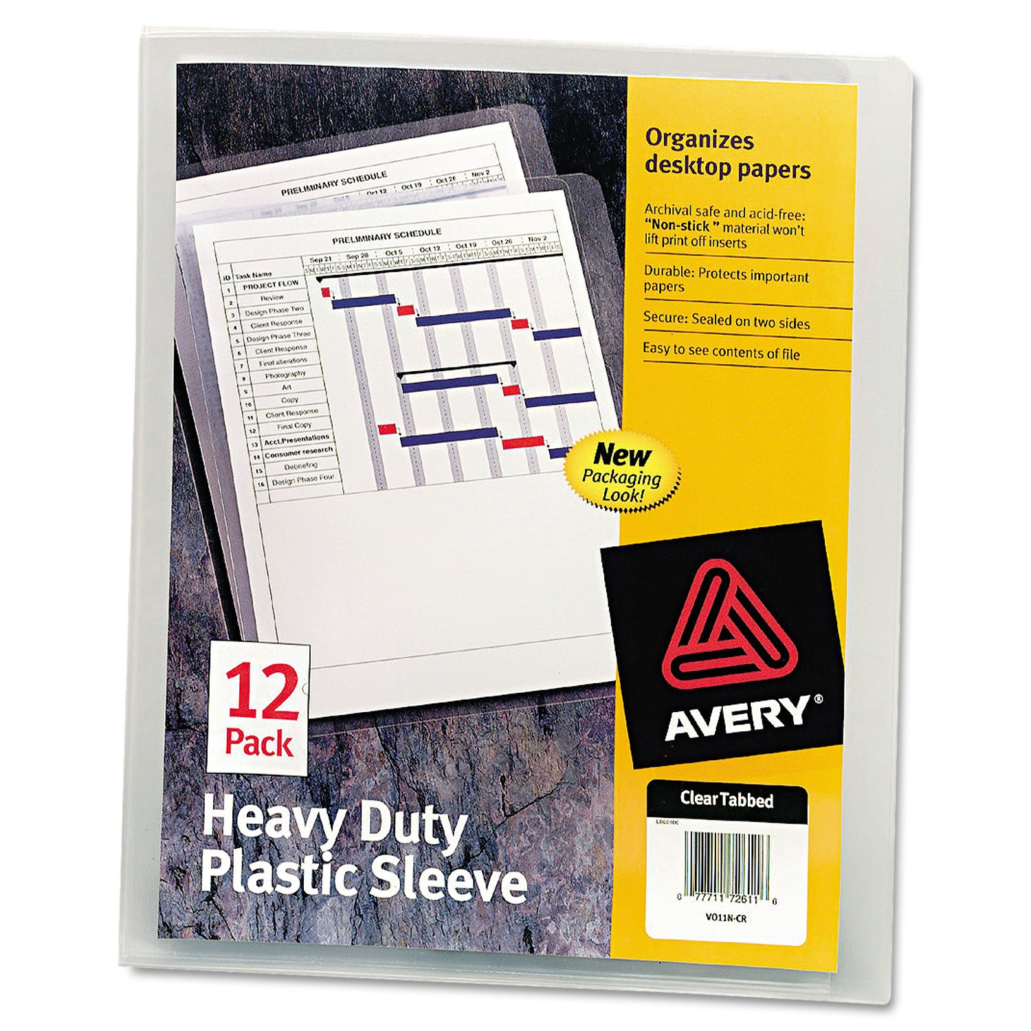 Avery 72611 Heavy-Duty Plastic Sleeves, Letter, Polypropylene, Clear (Pack of 12)