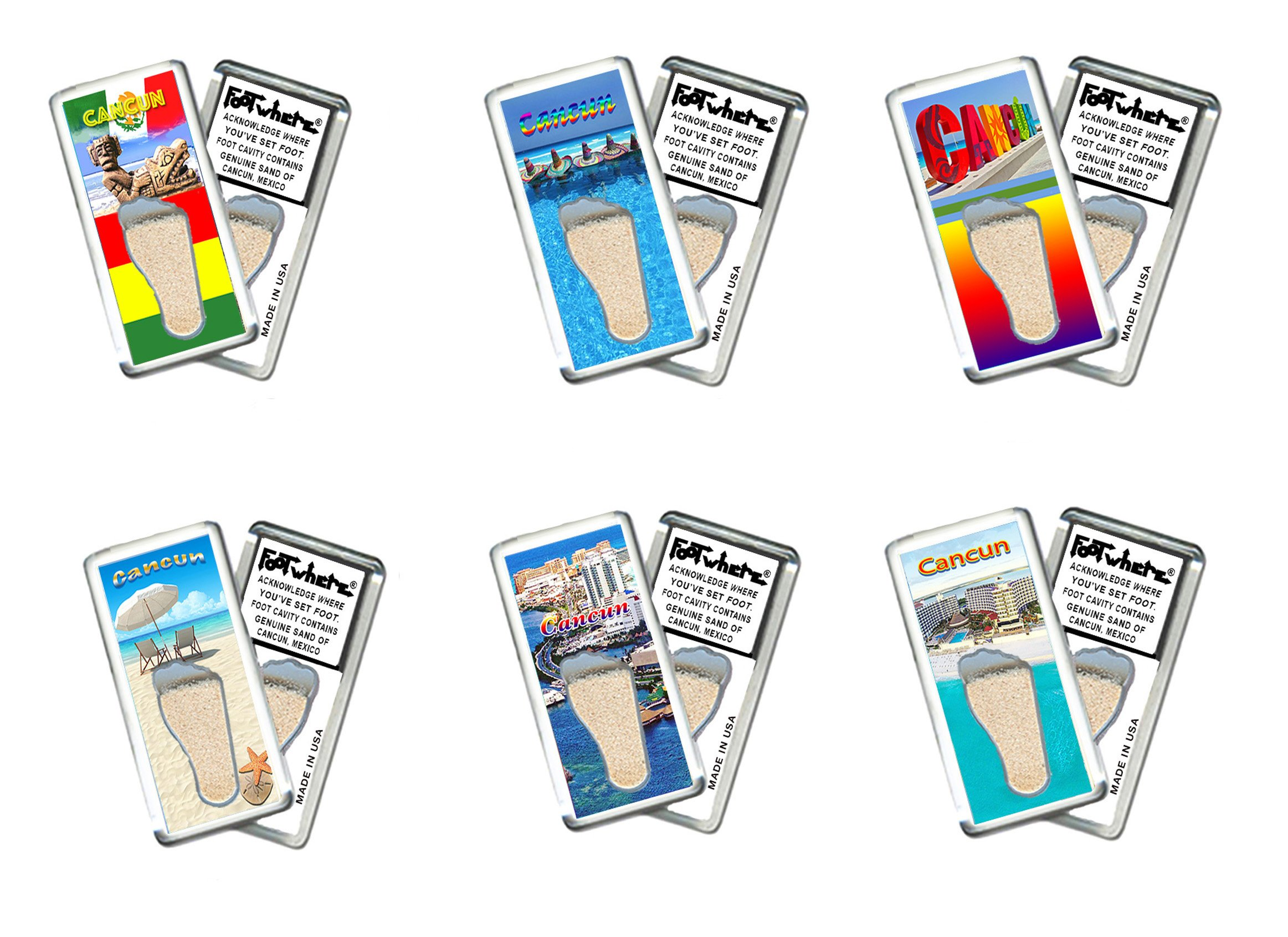 Cancun FootWhere Magnets. 6 Piece Set. Authentic destination souvenir acknowledging where you've set foot. Genuine soil of featured location encased inside foot cavity. Made in USA.