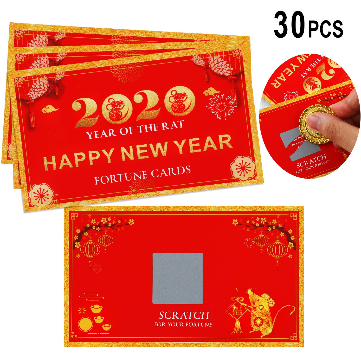 30 Pieces 2020 Chinese New Year Fortune Cards Scratch Off Fortune Cards Year of the Rat Cards for Spring Festival New Year Party Supplies