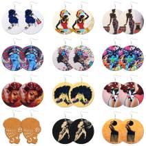 WFYOU 12 Pairs African Earrings for Women Wooden Painted Hook Dangle Earrings African Women Portrait Earrings Ethnic Round Wooden Earrings Set