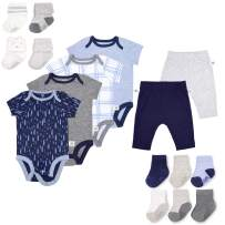 Fruit of the Loom Baby Gift Set 16-Piece Breathable Cooling Mesh Bodysuits, Pants and Socks - Unisex, Girls, Boys (New Born, Blue)