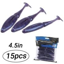 RUNCL ProBite Jointed Swimbaits, 15/20pcs Soft Fishing Lures 3.5/4.5in - Jointed Design, Natural Oils, Hook Slot, Paddle Tail, Proven Colors - Bass Fishing Baits