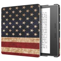 MoKo Case Fits All-New Kindle Oasis (9th and 10th Generation ONLY, 2017 and 2019 Release), Slim Fit Premium PU Leather Protective Cover with Auto Wake/Sleep - US Flag