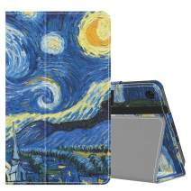 MoKo Case Fits Kindle Fire 7 Tablet (9th Generation, 2019 Release), Premium PU Leather Slim Folding Stand Shell Multiple Viewing Angles Cover with Auto Wake/Sleep - Starry Night