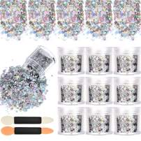 10 Boxes Nail Chunky Glitter Sequins Iridescent Flakes Cosmetic Paillette Ultra-thin Tips with 10 Pieces Eyeshadow Brushes for Face Body Hair Nails (Dark Colors)