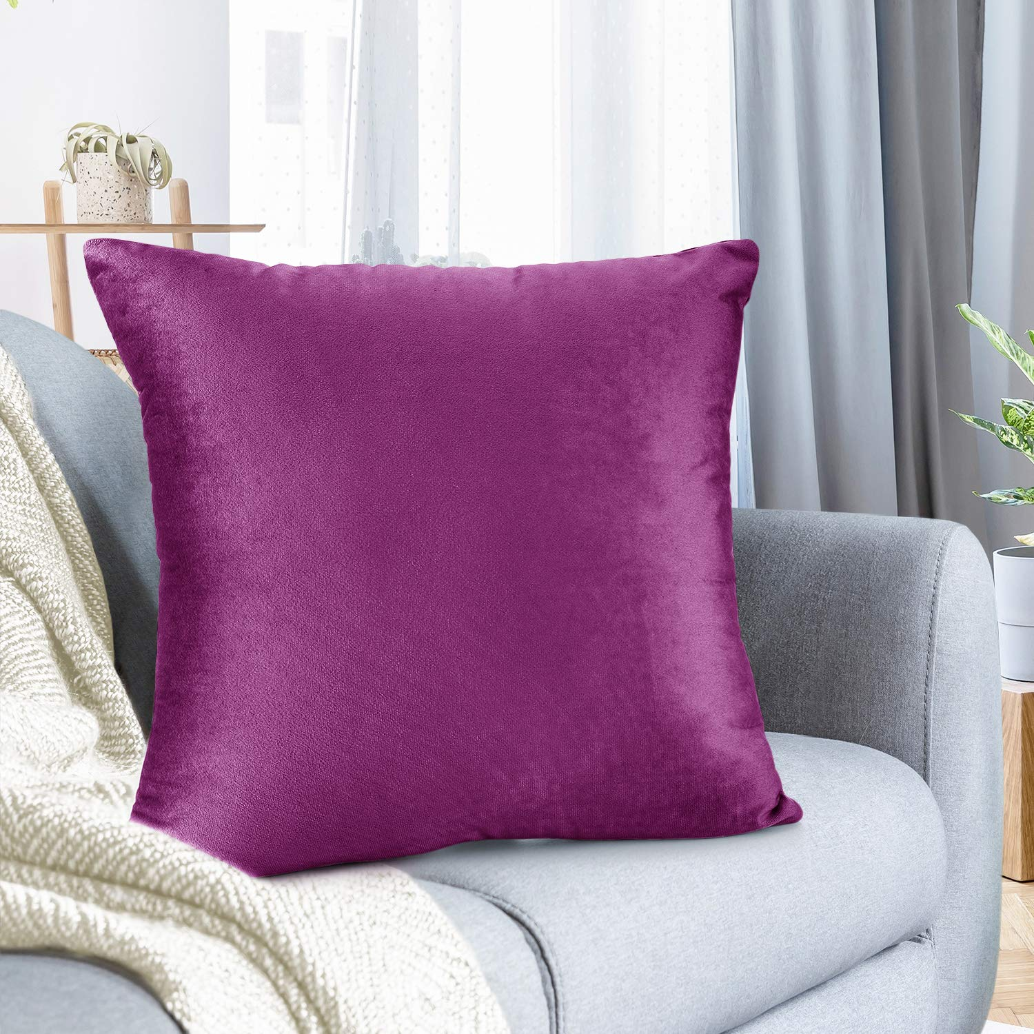 "Nestl Bedding Throw Pillow Cover 18"" x 18"" Soft Square Decorative Throw Pillow Covers Cozy Velvet Cushion Case for Sofa Couch Bedroom - Orchid Purple"