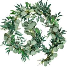 Whaline 6.5ft Artificial Eucalyptus and 5.6ft Willow Leaves Garland, Faux Silver Dollar Eucalyptus Leaves Garland and Willow Vines Twigs Leaves Garland for Indoor Outdoor Decoration (Green)