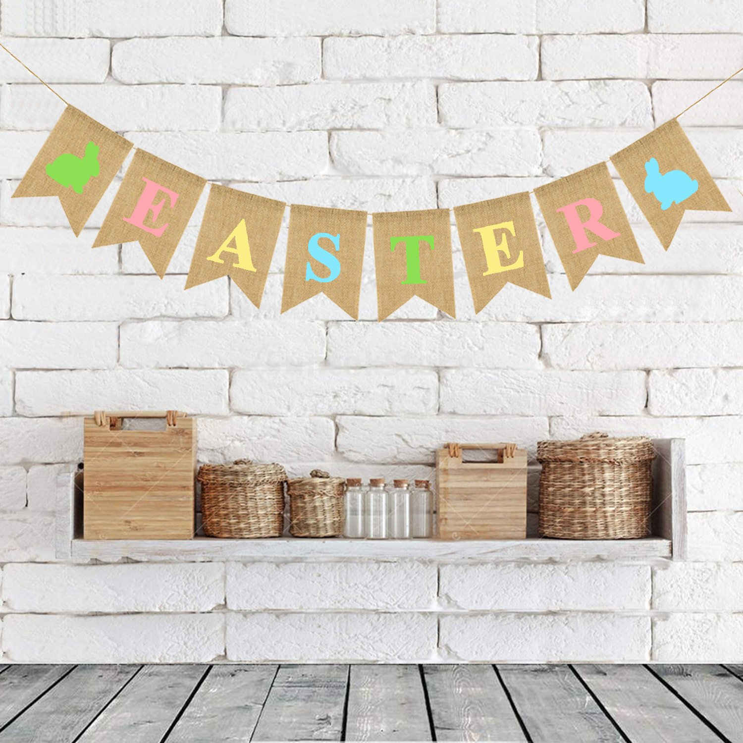 atimier Burlap Happy Easter Banner   Rustic Easter Celebration Decorations   Happy Easter Bunting Garland with Rabbit Bunny Sign   Easter Party Decor Photo Props