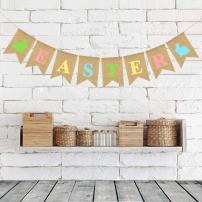 atimier Burlap Happy Easter Banner | Rustic Easter Celebration Decorations | Happy Easter Bunting Garland with Rabbit Bunny Sign | Easter Party Decor Photo Props