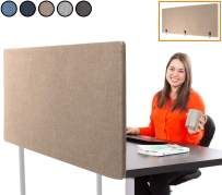 """Stand Steady ClipPanel Desk Mounted Privacy Panel   Height Adjustable Desk Divider  Easy Clamp on Privacy Screen or Modesty Panel - Reduces Up to 85% of Noise   (Tan / 60"""" x 24"""")"""