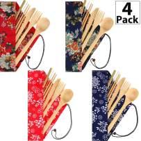 4 Sets Bamboo Travel Utensils Set, Reusable Bamboo Utensil Fork Knife Spoon Chopsticks Straw Cleaning Brush for Travel Picnic Office School (Pattern 1)
