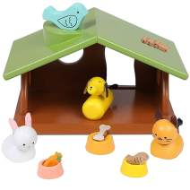 Top Right Toys Wooden Dollhouse Accessories Family Pet Set - 12 pc House Pets Animals Includes a Dog, Cat, Bird, Bunny, and Accessories