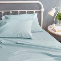 Welhome Full Size 100% Organic Cotton Sateen Sheet Set of 4 Piece - GOTS Certified - Eco Friendly - Soft - Deep Pocket - Easy fit - Sky