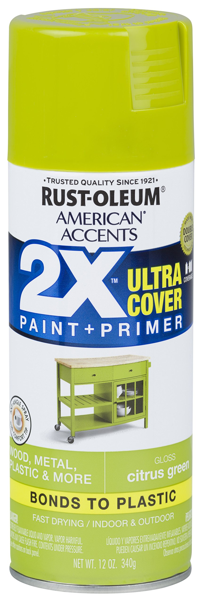 Rust-Oleum 327887 American Accents Spray Paint, 12 oz, Gloss Citrus Green