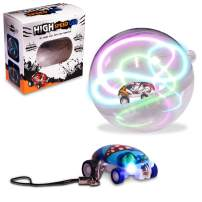 Windy City Novelties LED Micro Car Racers with Stunt Ball & Keychain | Includes 2 Mini Micro Cars, USB Charger, Stunt Ball & Keychain Hook