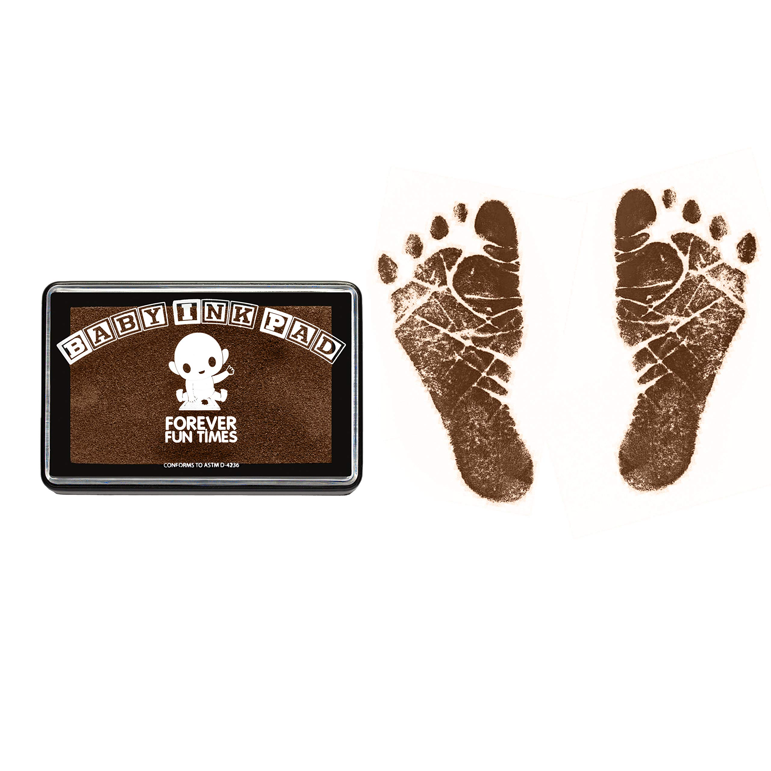 Baby Hand and Footprint Kit by Forever Fun Times   Get Hundreds of Detailed Prints with One Baby Safe Ink Pad   Easy to Clean, and Works with Any Paper or Card   Clean and Safe (Brown)
