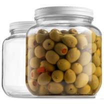Half Gallon Glass Mason Jar (64 Oz) Wide Mouth with Metal Airtight Lid, USDA Approved BPA-Free Dishwasher Safe Canning Jar for Fermenting, Sun Tea, Kombucha, Dry Food Storage, Clear (2 Pack)
