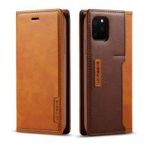DEFBSC iPhone 11 Flip Wallet Case with Card Holder,Magnetic Closure Premium PU Leather Folio Flip Case with Kickstand for iPhone 11 6.1 Inch,Brown