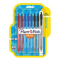 Paper Mate InkJoy 100RT Retractable Ballpoint Pens, Medium Point, Black/Red/Blue Ink, 8 Pack (1945934)