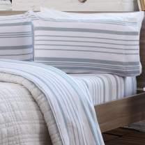 3 Piece Extra Soft 100% Turkish Cotton Heavyweight Flannel Sheet Set. Warm, Cozy, Luxury Winter Deep Pocket Bed Sheets. Raye Collection (Twin XL, Soft Blue - Stripe)