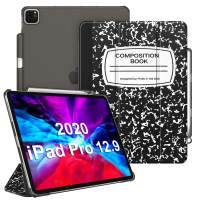 """CaseBot SlimShell Case for iPad Pro 12.9"""" 4th & 3rd Generation 2020/2018 with Pencil Holder - Lightweight Cover Translucent Frosted Stand Hard Back, Auto Wake/Sleep (Composition Book)"""