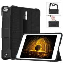 iPad Mini 5 Case with Pencil Holder Hand/Shoulder Strap,Miesherk Smart Tri-fold Stand Leather Back Folio Cover with Auto Sleep/Wake Feature Case for iPad Mini 5 7.9 Inch 2019,Black