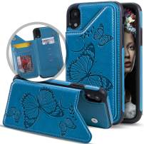 Vodico iPhone Xs Max Case with Card Holder Wallet for Women/Girls, Cute Girly Butterfly Leather Slim Folio Flip Full Body Protective Magnetic Purse with Credit Card Slots&Stand Phone Cases (Blue)