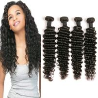 Deep Wave Bundles Real Human Hair Weave Natural Color Raw Remy Sew In Extensions 20 22 24 26 Inch Unprocessed Brazilian Virgin Hair For Women