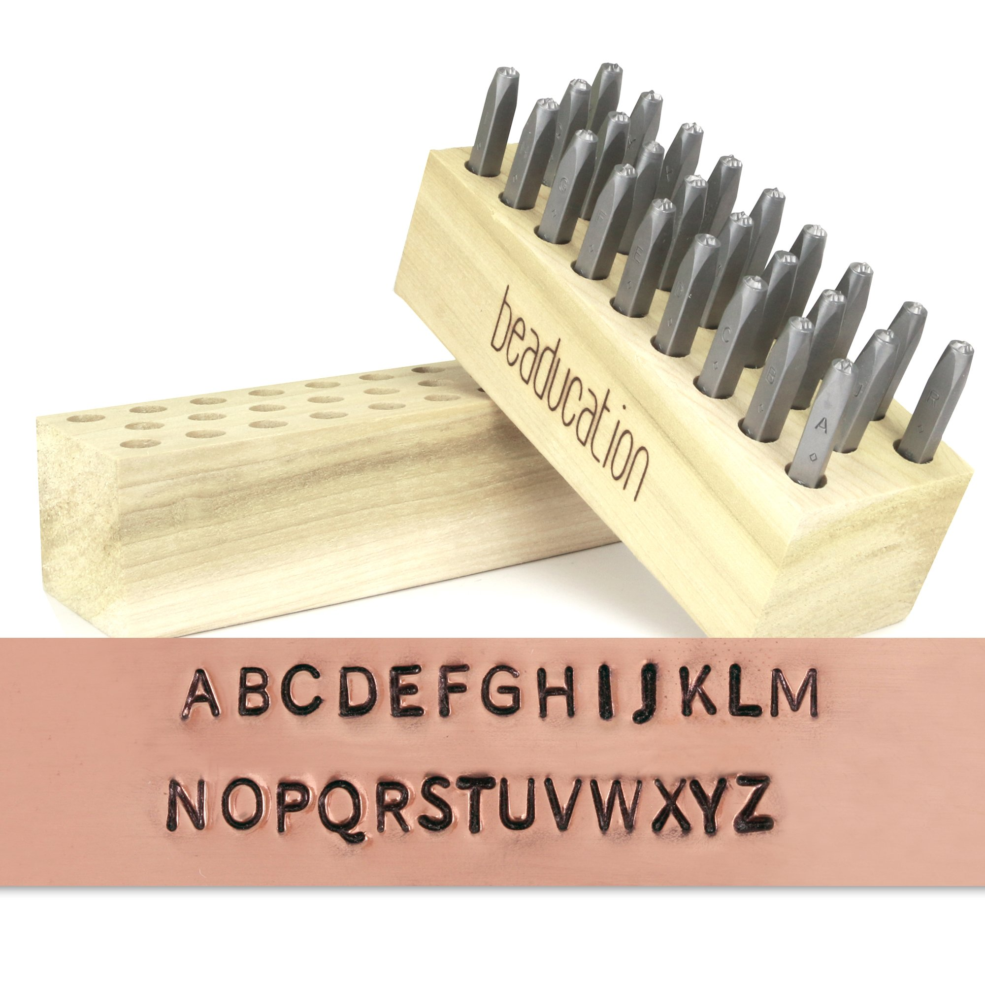 """Block Metal Letter Stamp Set, Basic Font, Uppercase 3/32"""" (2.4mm) (Alphabet Punch Tool Set A-Z) for Stamping Metal for Hand Stamped DIY Jewelry Crafts - Beaducation Original"""
