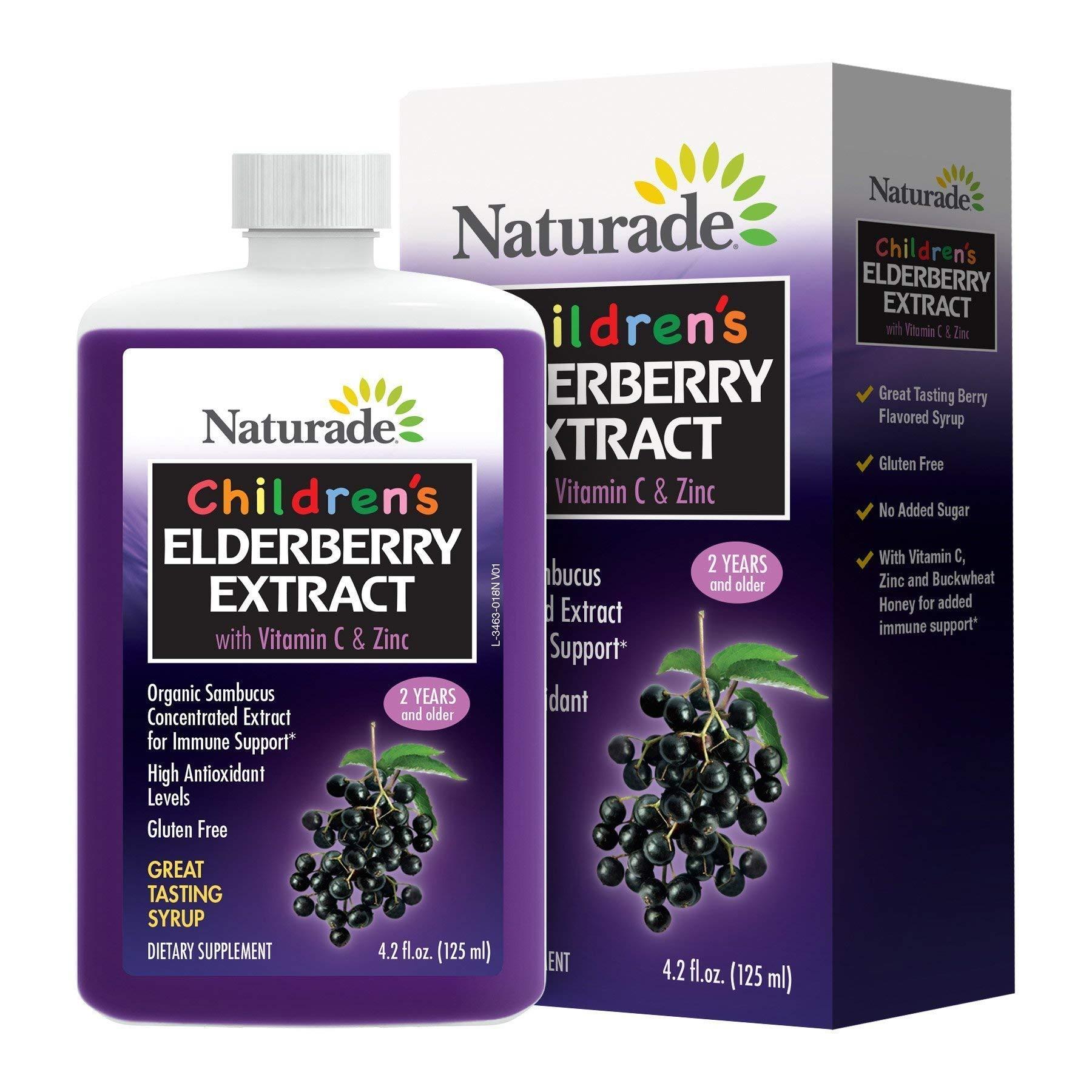 Naturade Children's Elderberry Extract Syrup with Vitamin C & Zinc, 4.2 fl oz (125 ml)