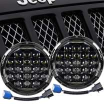 """Falconstar 7"""" 105W LED Headlight Round Headlamp Daytime Running Light DRL Compatible with Jeep Wrangler JK TJ LJ CJ Motorcycles-5D Round Projector with H4 H13 Adapter High Low Beam, 2PCS"""
