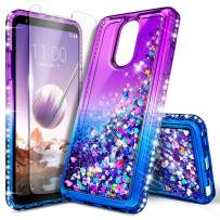 LG Stylo 3 Case (LS777), LG Stylo 3 Plus/Stylus 3 Glitter Case w/[Tempered Glass Screen Protector], NageBee Sparkle Bling Liquid Floating Quicksand Shockproof Women Kids Girls Cute Case -Purple/Blue