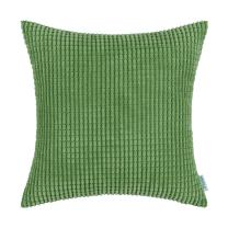 CaliTime Cozy Throw Pillow Cover Case for Couch Sofa Bed Comfortable Supersoft Corduroy Corn Striped Both Sides 24 X 24 Inches Forest Green