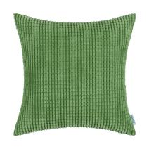 CaliTime Cozy Throw Pillow Cover Case for Couch Sofa Bed Comfortable Supersoft Corduroy Corn Striped Both Sides 22 X 22 Inches Forest Green