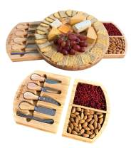 iBambooMart Round Cheese Board and Knife Set, Wooden Charcuterie, Bamboo Platter & Serving Meat Tray w/Slide-Out Drawers, 4 Knife, 4 fork, Perfect for Christmas, Birthday, Housewarming, Wedding Gifts