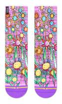 Otis Link Floral Adult Women's Unisex Crew Pink Purple Sock
