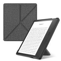 MoKo Case Fits All-New Kindle Oasis (9th and 10th Generation, 2017 and 2019 Release) ONLY, Hands-Free Slim Shell Origami Stand Protective Cover with Auto Wake/Sleep - Denim Charcoal Gray