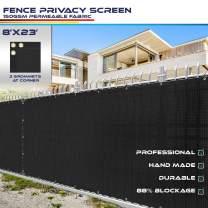 Windscreen4less Heavy Duty Privacy Screen Fence in Color Solid Black 8' x 23' Brass Grommets w/3-Year Warranty 150 GSM (Customized Size)